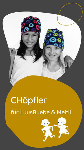 Der Chöpfler ist die parktische Wendemütze für Schüler. So macht Kappen tragen Spass und leicht zu waschen. Handgenäht von Chappunzel aus der Schweiz.