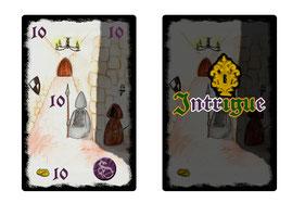 Exemple de carte d'Intrigue (Illustration de Anne Fenech)