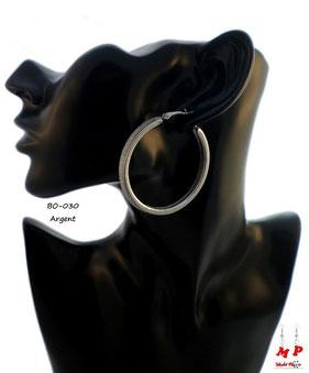 Boucles d'oreilles anneaux argentés et paillettes