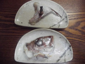 完成したマダイのカマと頭の塩焼き