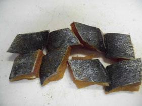 カレー粉を付けたヒラマサの身