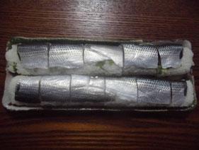 完成したコノシロの棒寿司