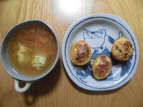 トマトの肉詰めとトマトスープ