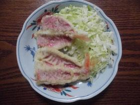 完成した金太郎の天ぷら