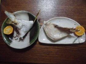 完成したヒラマサの腹身とカマの塩焼き