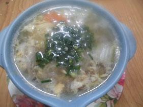 完成したヒラメの卵スープ