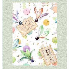 和風イラスト「新春の言祝ぎ」水彩画・福井良佑