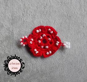 maillon bracelet Osez, petite fleur rouge, bracelet Gwendoline