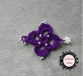 maillon bracelet Osez, fleur 4 pétales au crochet