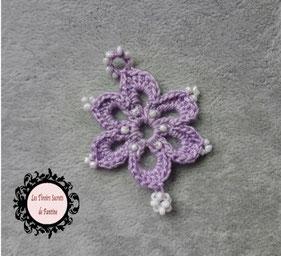 maillon bracelet Osez, fleur à 6 pétales fait main crochet