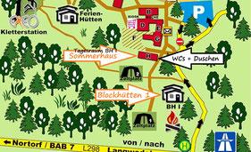 Blockhüttengruppe 1 Lageplan