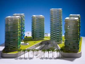 """Sechs Brüder"" Abu Dabi, Architekturmodell, Wettbewerbsmodell, Präsentationsmodell"