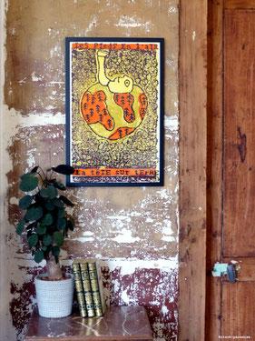 Kitsch, paradise, artisan, créateur, dessin, nature, gravure, poster, fait main