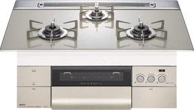 画像モデル:75㎝天板 プラチナシルバー ステンレスゴトク ほか60㎝天板、天板カラー2色、ゴトク/付属品バリエーションあり