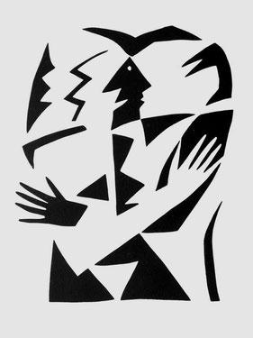 Mit Hirsch und Gans, 1986, 70/50 cm