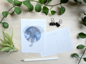 Kunstpostkarte Elefant Michael Clarke Art