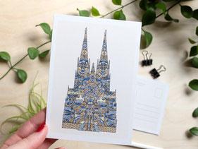 Kunstpostkarte Kölner Dom Michael Clarke Art