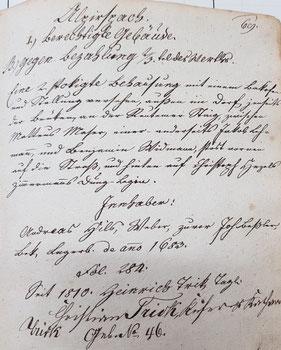 Liste der Bauholz berechtigten Gebäude Alpirsbachs aus dem städt. Archiv