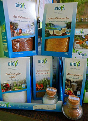Biova Palmzucker, Kokosblütenzucker, Birkenzucker, Ahornzucker, Geräucherter Zucker