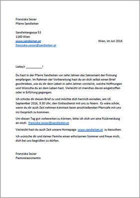 Einladung zum 10 Jahres Treffen an die Firmlinge von 2006 (PDF)