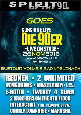 """26.11.2016: Spirit Of The 90s goes Sunshine Live """"Die 90er -Live On Stage-"""", Maimarkthalle Mannheim"""