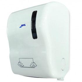 Despachador de toalla en rollo precorte AG50000 Color: Blanco con base blanca Dimensiones en milímetros: Alto: 407 Largo: 292 Ancho: 248 Capacidad: Papel encolado de 40 g Contenido por caja: 1 pieza