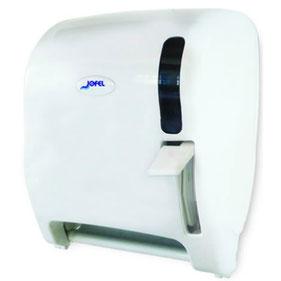 Despachador de toalla en rollo palanca AG16510 Color: Blanco con base blanca Dimensiones en milímetros: Alto: 366 Largo: 307 Ancho: 265 Capacidad: 1 rollo de 8'' / 20.3 cm Contenido por caja: 1 pieza