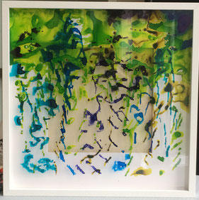 Experimenting with ink on acrylic glass III. 50 cm x 50 cm