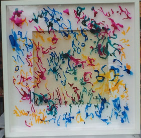 Experimenting with ink on acrylic glass I.                      50 cm x 50 cm