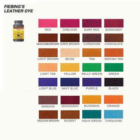 Nuancier des teintures base alcool Fiebing's