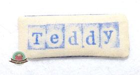 Schrift auf Stoff stempeln Schild Label