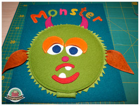 sew along Quiet book Monsterbuch Spielbuch Nähbuch Activity buch Softbook Reisespielzeug Nähanleitung Schablonen ein Spielbuch nähen