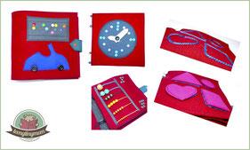 Quietbook Activity book sewing Spielbuch nähen Braille book toddler kleinkinder