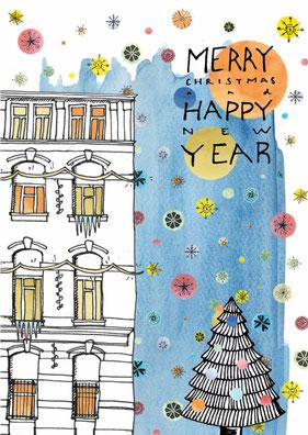 "Postkarte ""Merry Christmas"" von Yves Kervoelen"