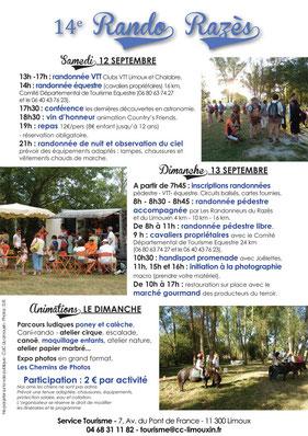 Programme du Rando Razès 2015