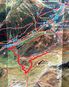 Rotmarkiert: unsere geplante Wanderroute.
