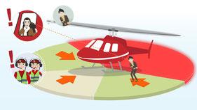 Abstand zum Helikopter halten
