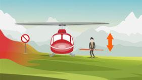 Annäherung an den Helikopter