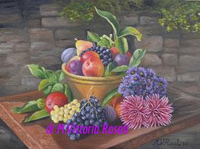 composizione con frutta e fiori, olio su tela, cm 30x40 anno 2010 - collezione privata