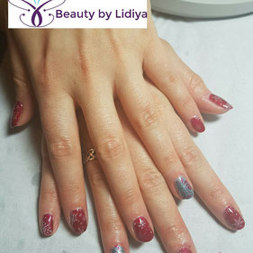 snowflakes Christmas stamping cnd shellac nail art design