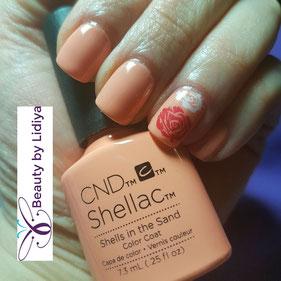 roses stamping nail art cnd shellac