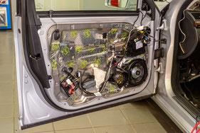 autotür mit butyl dämmung und focal 10cm lautsprecher