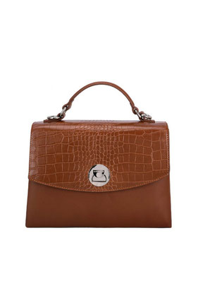 CM5852 Sac cartable aspect croco David Jones marron