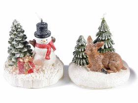 Bougie Noël en paquet cadeau