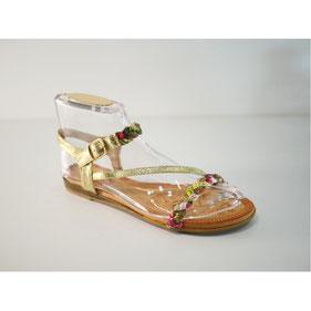 Sandales plates à design tressé motifs fleurs et strass