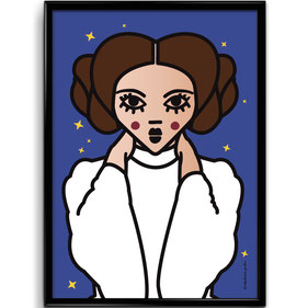 ICONS ICONES PRINCESSE LEIA ILLUSTRATION AFFICHE POSTER ART PRINT / CREATION ORIGINALE © Stephanie Gerlier / T FOR TIGER