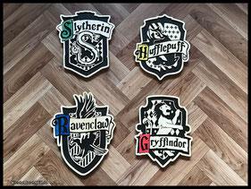 WoodnMetalART Scrollsaw Dekupiersäge Holzwappen Harry Potter Hauswappen Slytherin Ravenclaw Gryffindor Hufflepuff