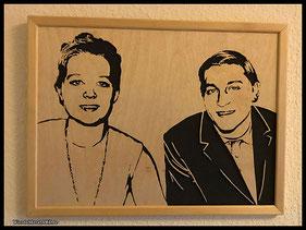 WoodnMetalART Scrollsaw Holzportrait Pärchen