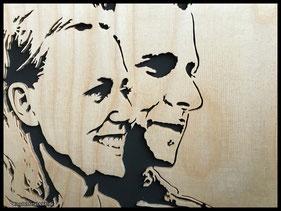 WoodnMetalART Scrollsaw Dekupiersäge Holzlogo Portrait Hochzeit