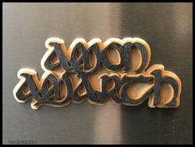 WoodnMetalART Scrollsaw Dekupiersäge Holzlogo Magnet Amon Amarth